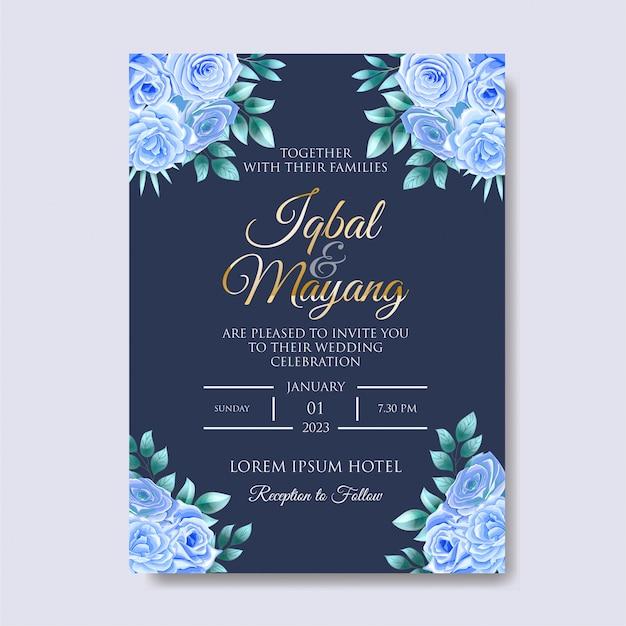 Mooie bruiloft uitnodiging met bloemenbladeren