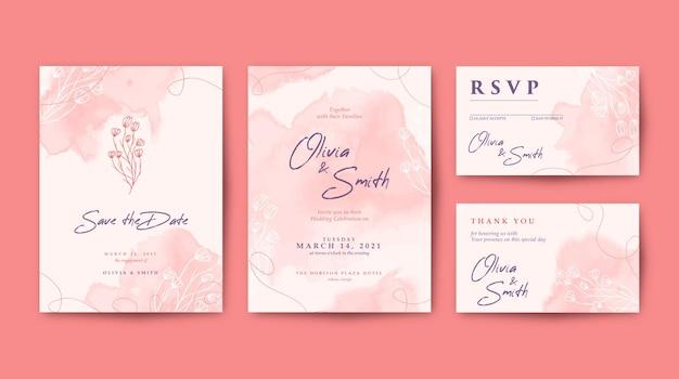 Mooie bruiloft uitnodiging set met kleurrijke bloem