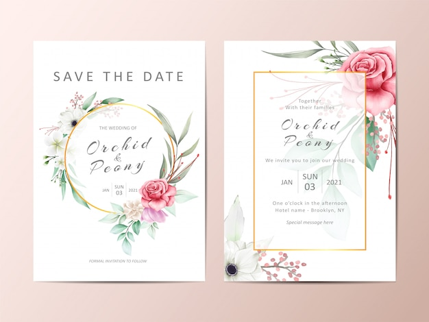 Mooie bruiloft uitnodiging set rode roos en witte anemoon bloemen