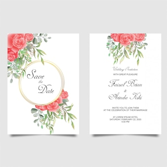 Mooie bruiloft uitnodiging set rode roos witte anemoon bloemen