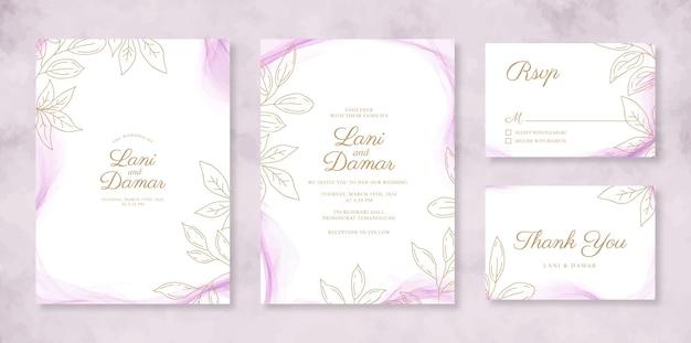 Mooie bruiloft uitnodiging set sjabloon met aquarel rook en lijntekeningen