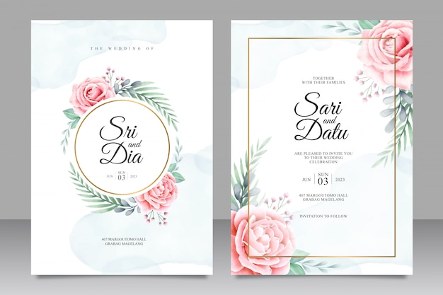 Mooie bruiloft uitnodiging set sjabloon met bloemen aquarel achtergrond