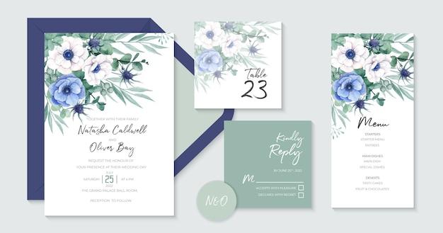 Mooie bruiloft uitnodiging sjablonen met prachtige witte en blauwe anemoon bloemen Premium Vector
