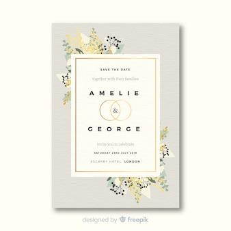 Mooie bruiloft uitnodiging sjabloon in plat ontwerp