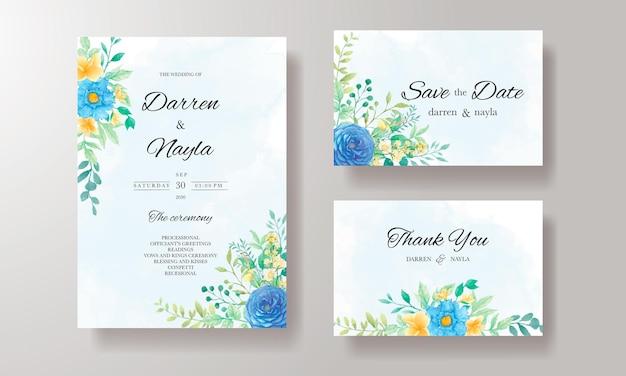 Mooie bruiloft uitnodiging sjabloon met aquarel bloemen en bladeren