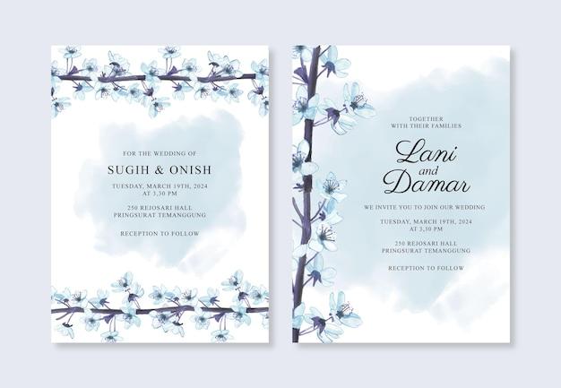 Mooie bruiloft uitnodiging sjabloon met aquarel bloemen