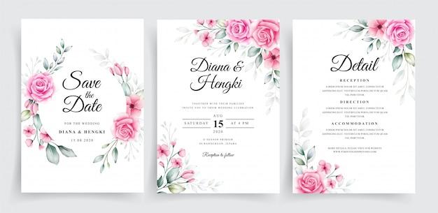 Mooie bruiloft uitnodiging sjabloon met aquarel bloemendecoratie