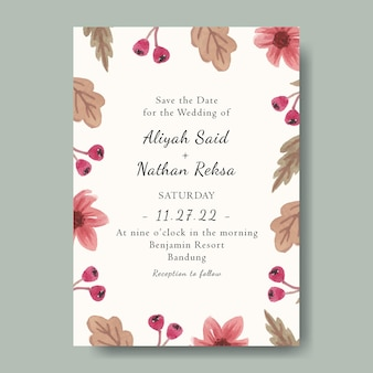 Mooie bruiloft uitnodiging sjabloon met aquarel roze bloemen achtergrond bewerkbaar