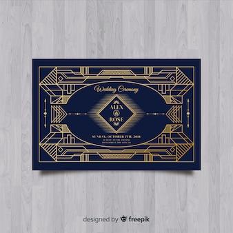 Mooie bruiloft uitnodiging sjabloon met art deco-concept