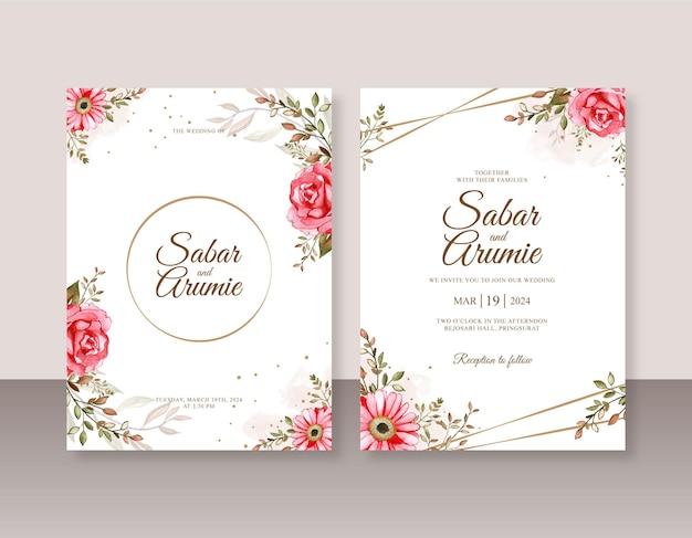 Mooie bruiloft uitnodiging sjabloon met bloemen aquarel