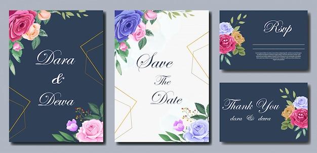 Mooie bruiloft uitnodiging sjabloon met bloemen