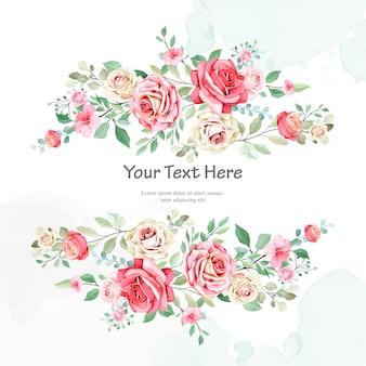 Mooie bruiloft uitnodiging sjabloon met florale frame