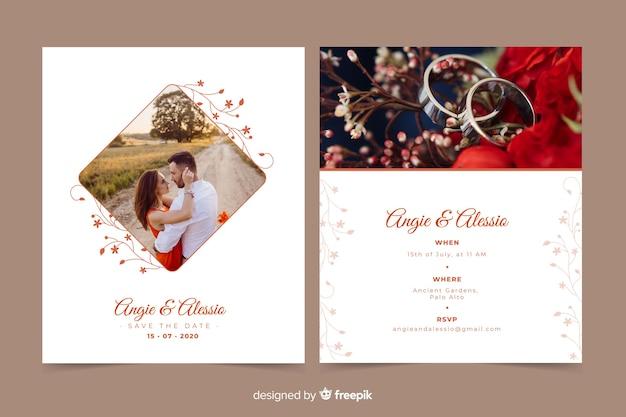 Mooie bruiloft uitnodiging sjabloon met foto