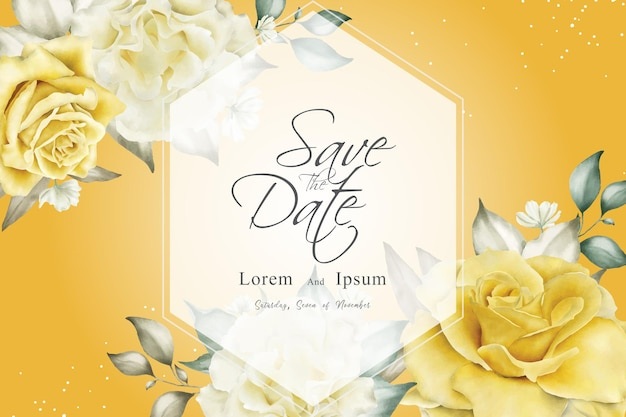 Mooie bruiloft uitnodiging sjabloon met gele bloemen