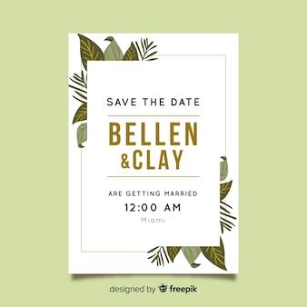 Mooie bruiloft uitnodiging sjabloon met platte bladeren