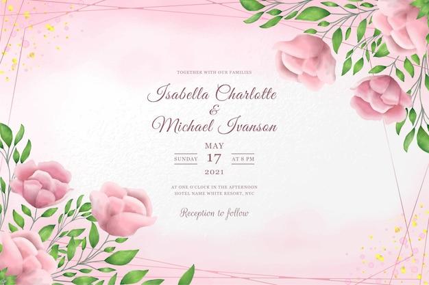 Mooie bruiloft uitnodiging sjabloon met roze pioenrozen