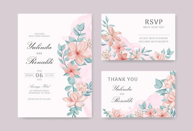 Mooie bruiloft uitnodiging sjabloon set met aquarel bloemen frame