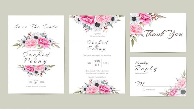 Mooie bruiloft uitnodiging sjabloon set met aquarel bloemen