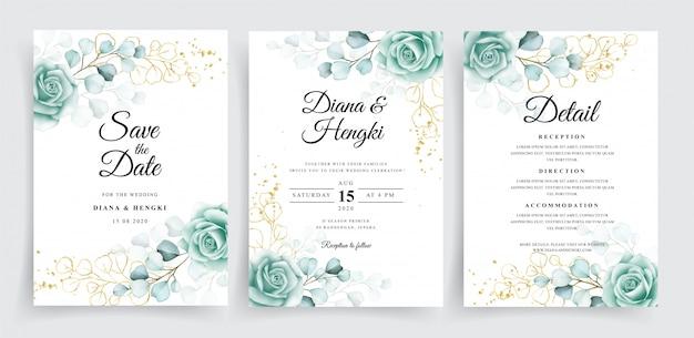 Mooie bruiloft uitnodiging sjabloon set met aquarel eucalyptus
