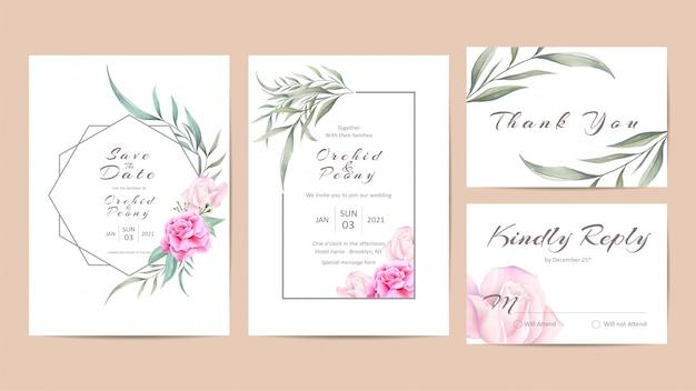 Mooie bruiloft uitnodiging sjabloon set met aquarel rozen