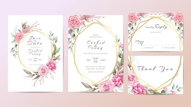 Mooie bruiloft uitnodiging sjabloon set met rozen en pioenrozen