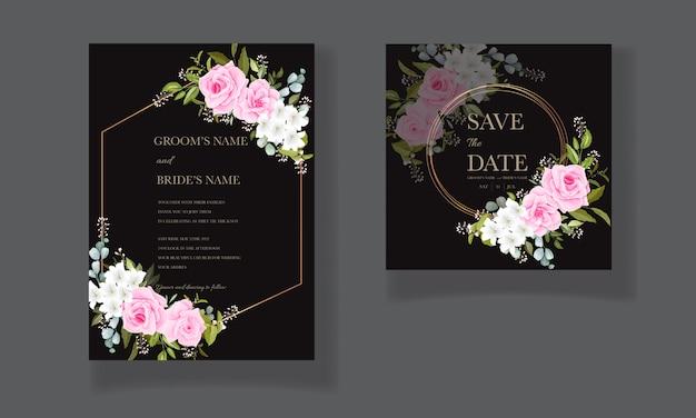 Mooie bruiloft uitnodiging sjabloon set met zacht roze bloemen frame en rand decoratie
