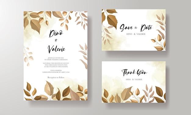 Mooie bruiloft uitnodigingskaart met bladdecoratie