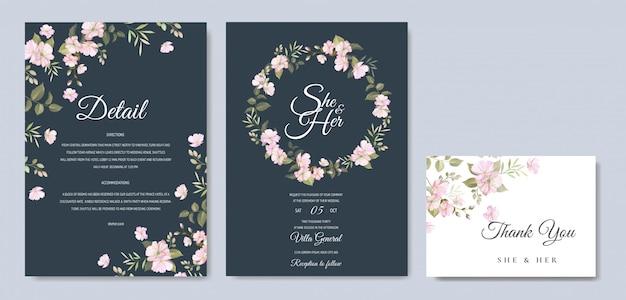 Mooie bruiloft uitnodigingskaart met bloemen en bladeren sjabloon