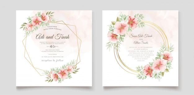 Mooie bruiloft uitnodigingskaart met bloemen krans