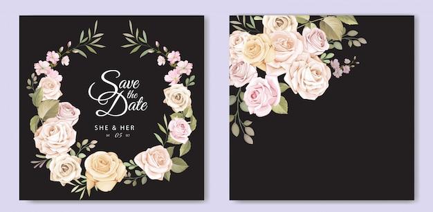 Mooie bruiloft uitnodigingskaart met bloemen sjabloon