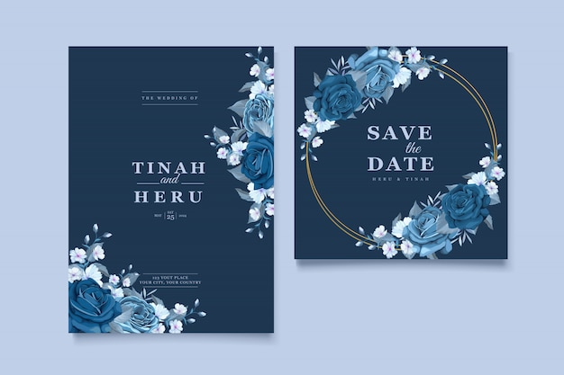Mooie bruiloft uitnodigingskaart met klassieke blauwe bloemen krans