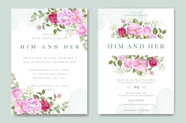 Mooie bruiloft uitnodigingskaart met kleurrijke rozen sjabloon