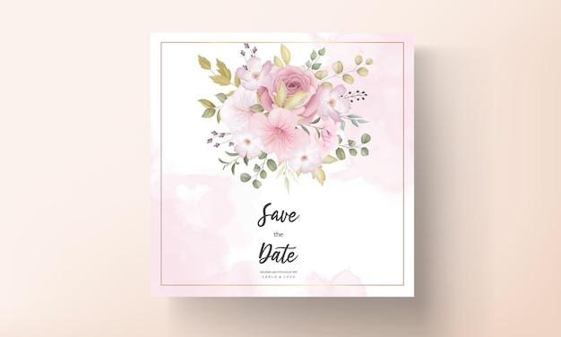 Mooie bruiloft uitnodigingskaart met prachtige bloemdecoratie Premium Vector