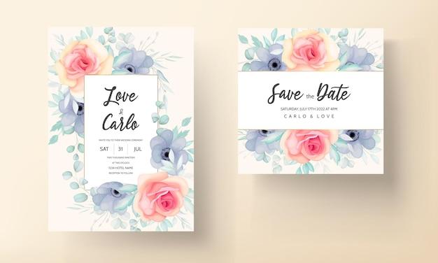 Mooie bruiloft uitnodigingskaart met prachtige bloemdecoratie