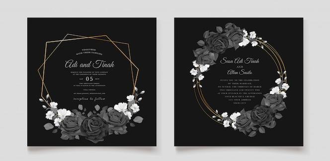 Mooie bruiloft uitnodigingskaart met zwarte bloemen krans