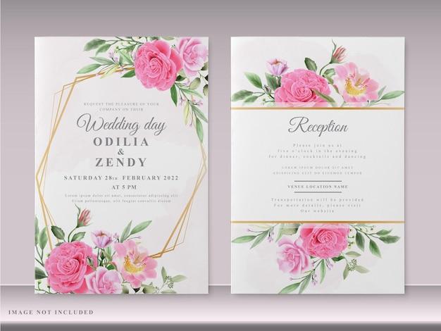 Mooie bruiloft uitnodigingskaarten met hand getrokken roze bloemen