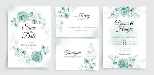 Mooie bruiloft uitnodigingskaarten sjabloon set met aquarel eucalyptus