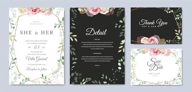 Mooie bruiloft uitnodigingskaartsjabloon met bloemen en bladeren