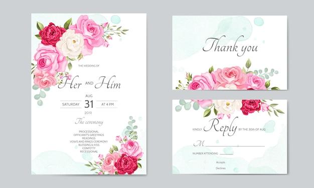 Mooie bruiloft uitnodigingskaartsjabloon met bloemenbladeren