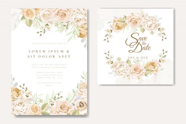 Mooie bruiloft uitnodigingskaartsjabloon met witte en gele rozen