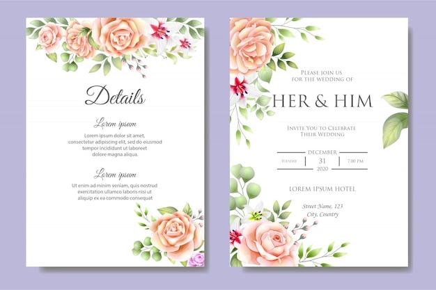 Mooie bruiloft uitnodigingskaartsjabloon