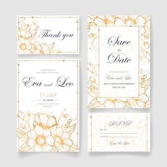 Mooie bruiloft uitnodigingsset (bewaar de datumkaart, rsvp-kaart, bedankkaart) met gouden bloemen, bladeren en takken. gelukkige bruiloft uitnodiging. ideaal voor huwelijksceremonie en gelukkig huwelijk!