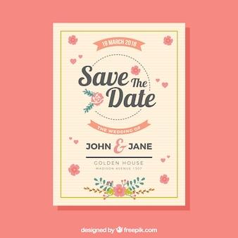 Mooie bruiloftuitnodiging met vlak ontwerp