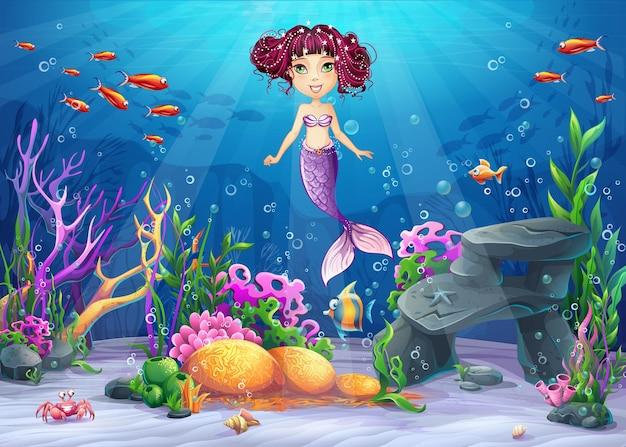Mooie brunette zeemeermin, koraal en kleurrijke riffen en algen op zand. vectorillustratie van zee landschap.