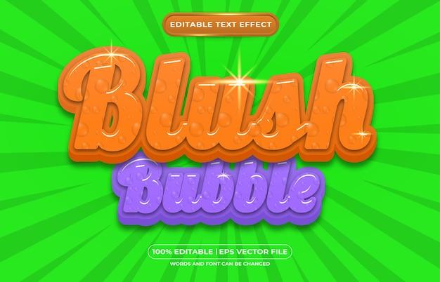 Mooie bubbel bewerkbare teksteffect vloeibare stijl
