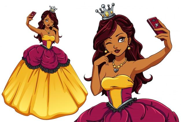 Mooie cartoon prinses selfie te nemen. donkerbruin meisje dat gele koninklijke kleding en zilveren kroon draagt. hand getekende illustratie. kan gebruikt worden voor t-shirt sjabloon, mobiele spelletjes voor kinderen, boeken, kaarten.