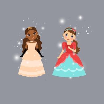 Mooie cartoon prinses tekens