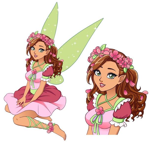 Mooie cartoonfee met krullend bruin haar en gebruinde huid die bloemkroon en leuke roze kleding draagt.