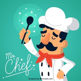 Mooie chef-kokachtergrond met snor en glanzende ladle
