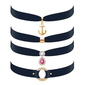 Mooie choker kettingen geplaatst illustratie. sieraden met edelsteen en gouden hangers. illustratie. goed voor beauty fashion juwelierszaak.